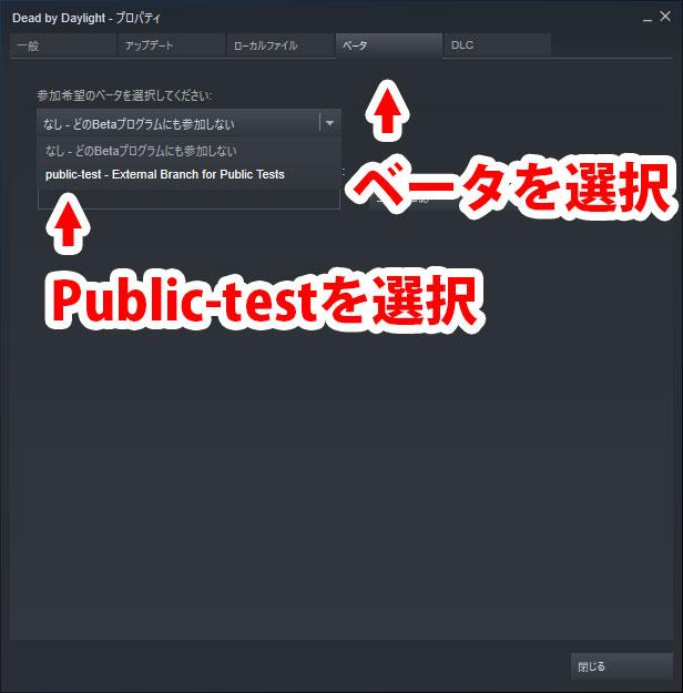 「ベータ」タブから「Public-test」を選択