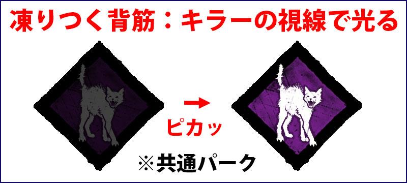 凍りつく背筋(通称、猫):近くでキラーの視線を感じると、パークアイコンが光って知らせてくれる。共通パーク。