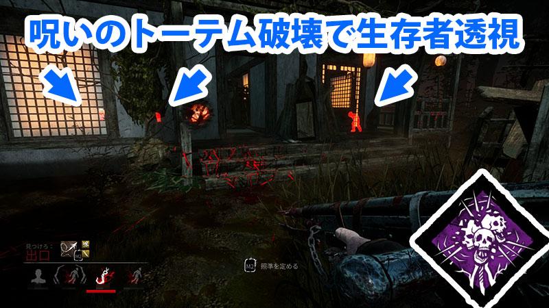 「呪術:報復」は、呪いのトーテムが破壊されると、サバイバーの位置が10秒間視える索敵パークです。