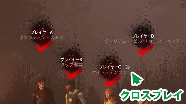 クロスプレイ中のプレイヤー名には、右側に地球儀のマークがつく
