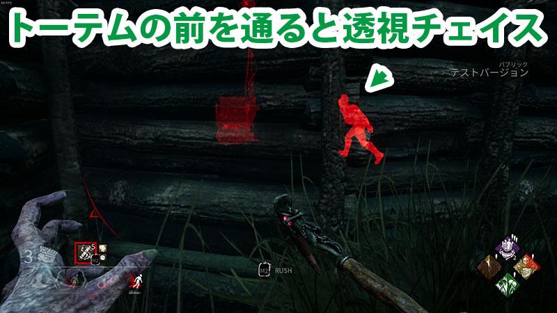 呪術:不死があれば、トーテムの前を通ったサバイバー相手に透視チェイスができる